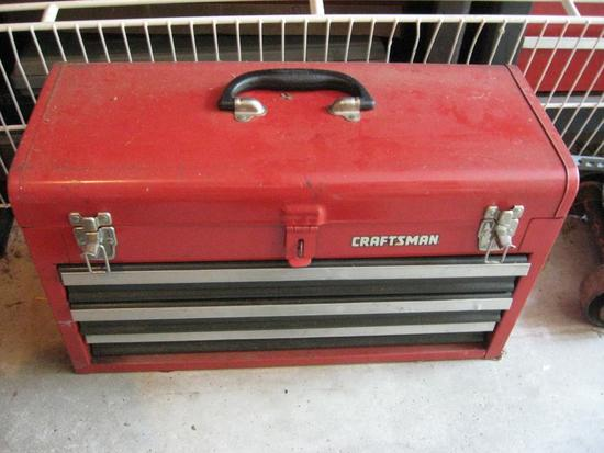 Craftsman Tool Box with Tools. Includes Socket wrenches, sockets, vise grips, screwdrivers, chisels