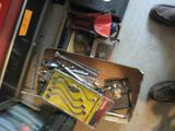 2 boxes tools-Socket Wrenches, Snake Wrenches, Hack Saw, GM Code Scanner & Safety Triangle