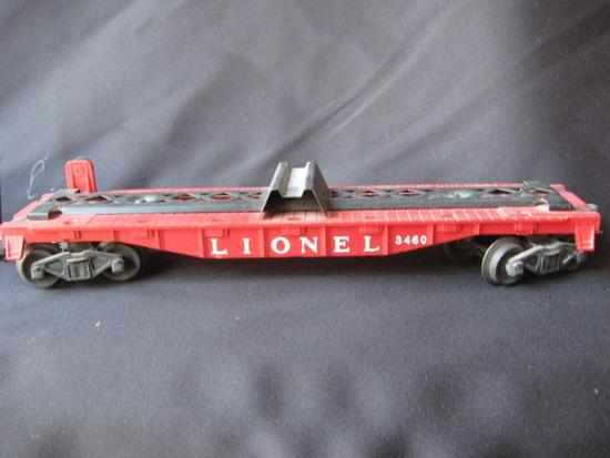 3460 Red Flat Car with 2 Green Trailers plus Black Flat Auto Cars