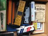 Box full including HO Cars, Track, Trestle