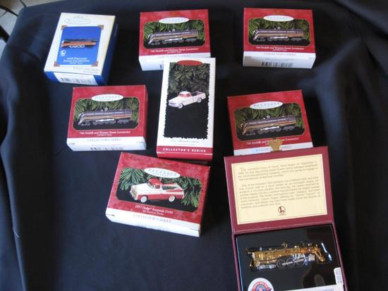 Box of Collectible Christmas Ornaments-cars, trucks and trains.