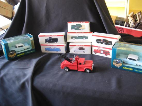 10 Vehicles!-7 minis, 2-'57 Chevy Bel Airs and Hershey Tow Truck