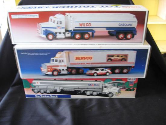 3 Toy Trucks: Wilco Tanker, Servco Truck & Racer, Mobil Tanker Truck