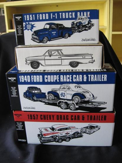4 Vehicles: '51 Ford F-1 Truck Bank-(locking), '59 El Camino Bank, '40 Ford Coupe Race Car & Trailer