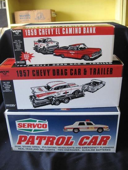 3 Vehicles: '59 Chevy El Camino Bank, '57 Chevy Drag Car & Trailer Bank (both die cast)