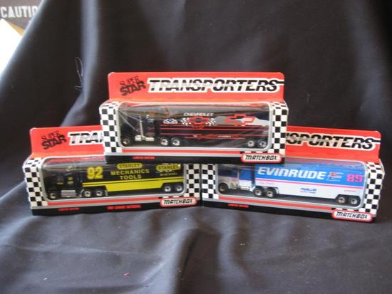 3 Matchbox Transporters: Chevrolet, Evinrude and Stanley Tools