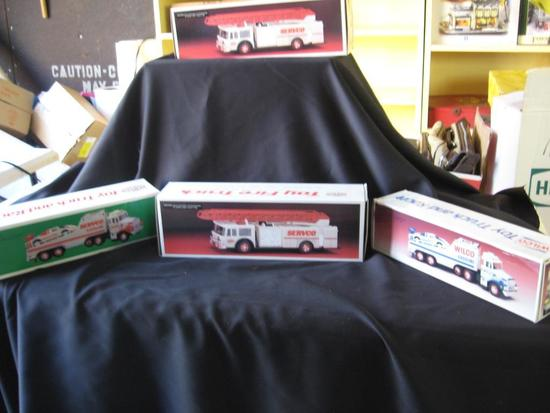 Servco Toy Fire Trucks (2), Wilco Gasoline Truck (1) and Servco Toy Truck & Racer (1)