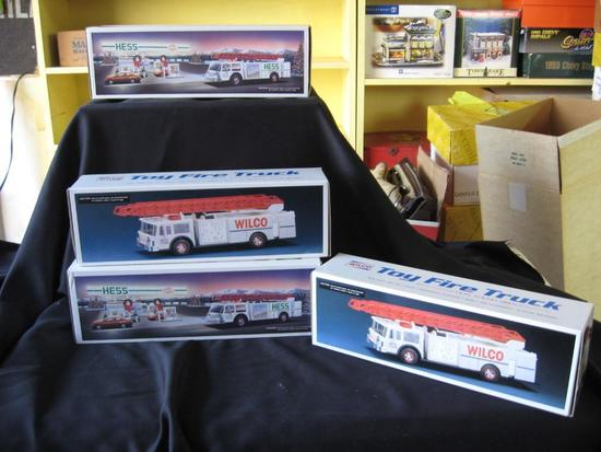 Wilco Toy Fire Trucks (2) and Hess Fire Trucks (2)