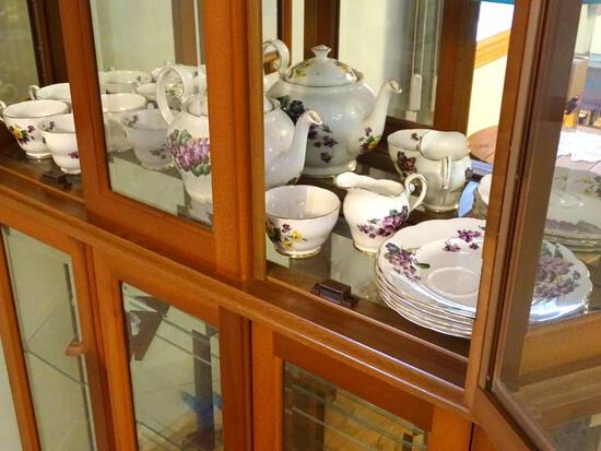 Lavender Lady Tea set-Royal Standard, fine bone china-England. 6 plates, 5 cups-sugar/creamer/teapot