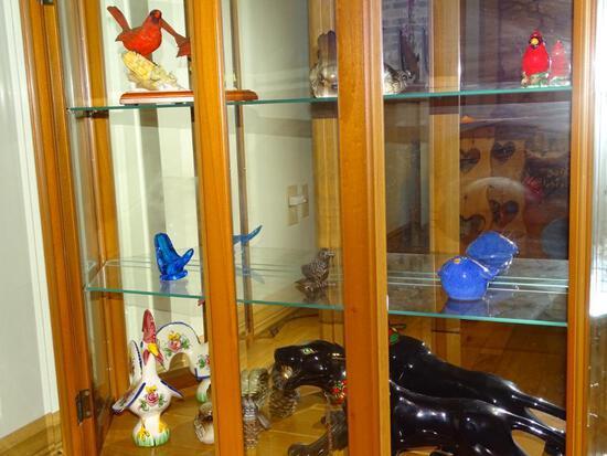 Knickknacks-3 shelves-Birds, rooster, cougar
