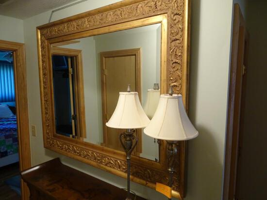 "Large gilded frame mirror, 62""wide, 50"" tall"