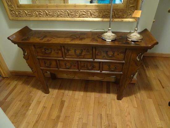 "Oriental style side table-63"" L x 15"" W x 34"" H"