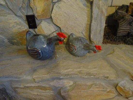Ceramic roosters/chickens-2