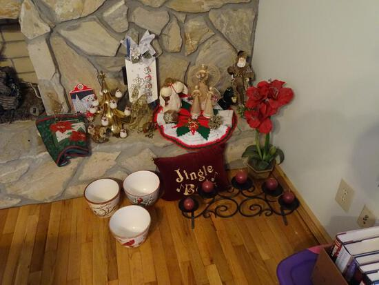 Holiday Corner! Includes candelabra, pots, pillow and more.