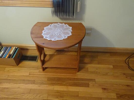 "Wooden side table-drop leaf/round. 22"" Diameter, 24"" tall."