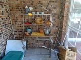 Metal/Wood Plant stand with contents-18