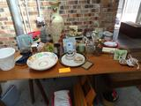 All Items on table-Bowl, vases, frame, etc.