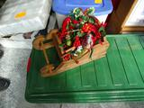 Wooden sleigh with Christmas items!