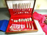 Silver chest w/Wm. Rogers Springtime & Tudor Plate Oneida Community Serving pieces