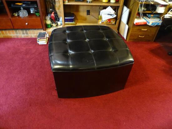 "Leather/wood Ottoman-36"" square, 22"" tall, black w/pullout sides for table/storage"