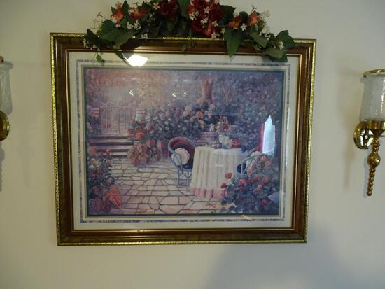 "Garden Picture & flowers on top-31""L x 24"" H"