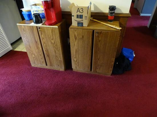 2 Wood Laminate Locking Storage Cabinets
