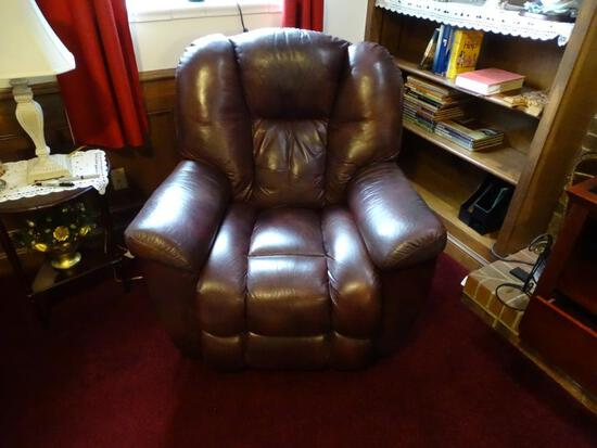 La-Z-Boy Leather Chair-Rocks, Reclines & Swivels