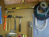 Wall of Tools-Hammers, Claws, Cable ,Chainsaw blades, rulers, sockets, blower & weed whacker