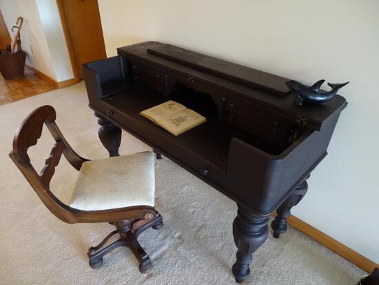 """Antique Desk and Chair-48""""L x 21""""D x 33.5""""H"""