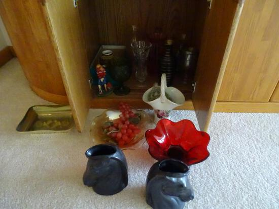 Misc Vases & Bowls-includes 1 crystal vase and 2 horses heads plus more