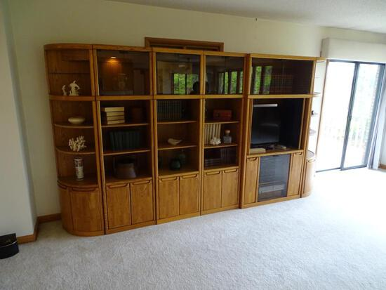 Wall Wood Entertainment Center-Six Sections-