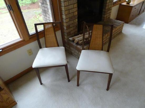 2 Mid Century Modern side chairs, cane backing