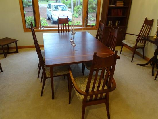 "Beautiful Solid Wood Table w/8 chairs. Mid Century Modern. 5' L x 42"" W"