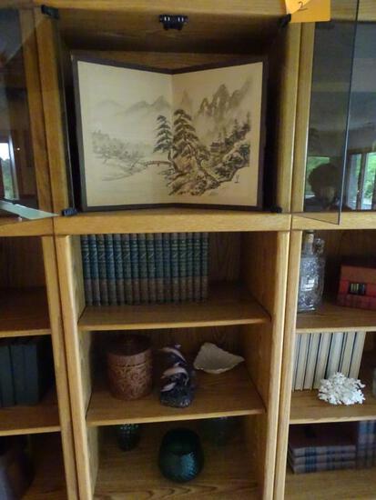 3 shelves of knickknacks-Japanese design bi-fold, wooden box, dolphin statue, vases