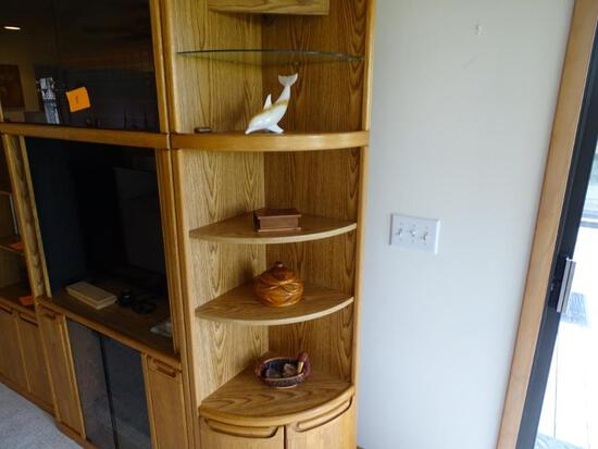 4 shelves of knicknacks- Glass dolphin, Wooden boxes, duck