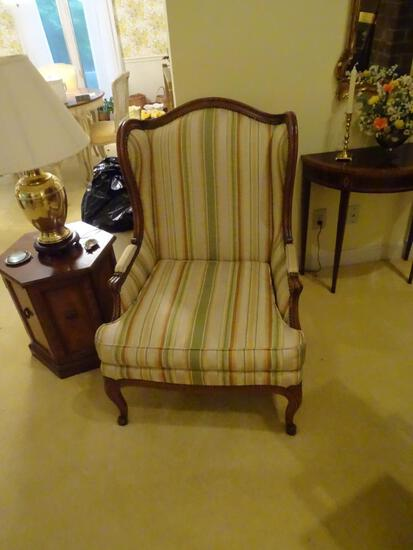 Wing back upholstered chair-Baker furniture. Very good condition.