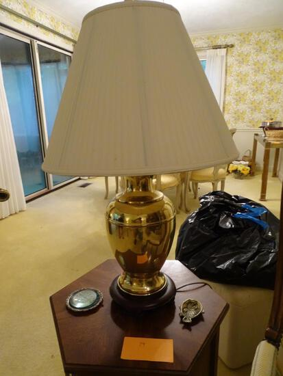 "Brass lamp -30"" tall and knickknacks on table."