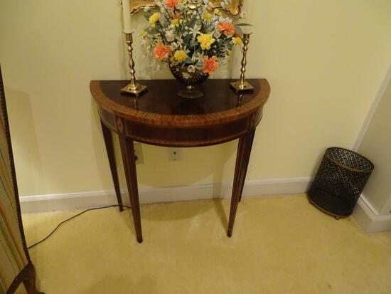 "Side table w/inlaid wood. 28""L x 14"" D x 28"" H"