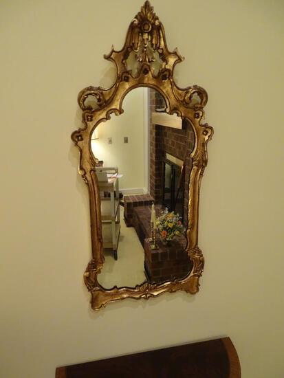 """Wood gilt frame mirror-38"""" H x 18"""" W"""