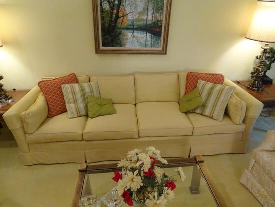 "Upholstered sofa w/ pillows-100"" L x 33.5"" D x 24"" H. All cushions are removable."