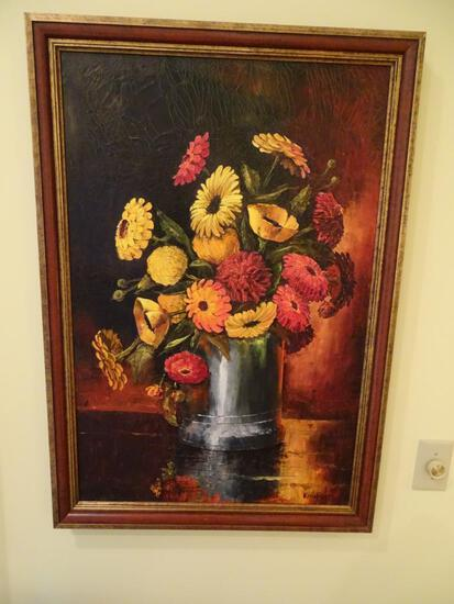 "Oil on canvas still life. Flowers in a vase. 39"" H x 27"" W. Wood frame."
