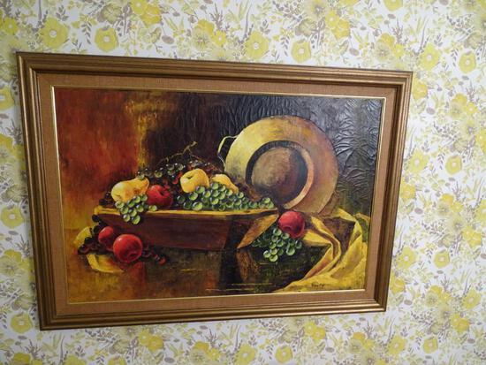 "Oil on canvas still life. 43""W x 30"" H. Wood frame"