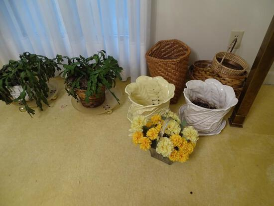 All items on floor: Planters, Baskets and Christmas cacti