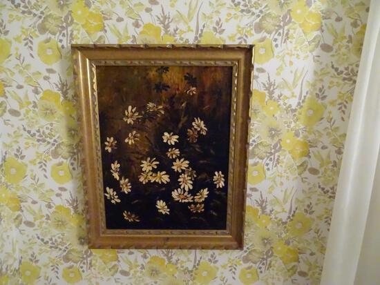 "Oil on canvas flower still life-21.5""H x 17"" W-wood frame"
