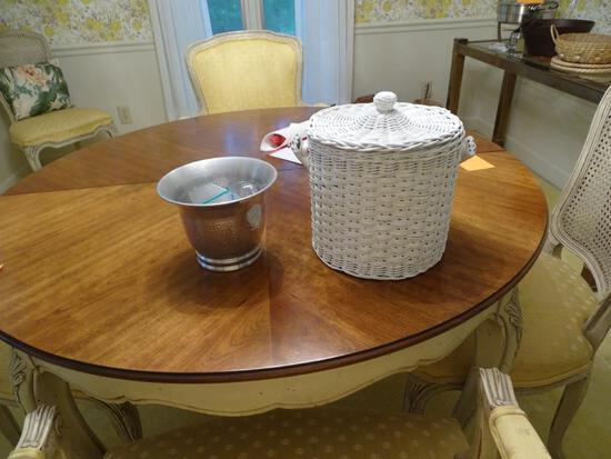 Wicker ice bucket and metal vase.