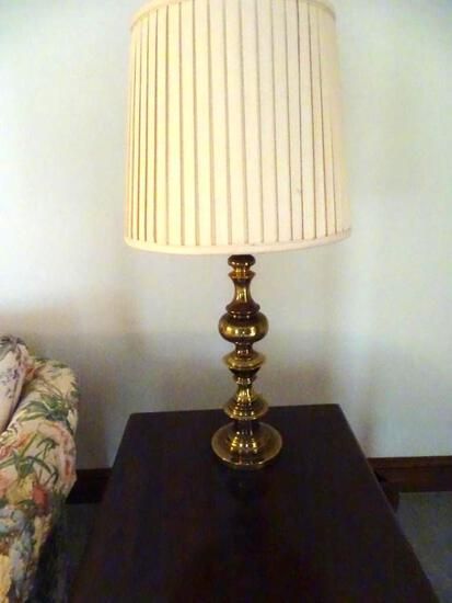 "2 brass lamps, 32"" tall"