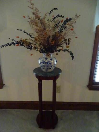 Marble top Plant Stand-w/flower vase-