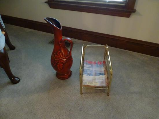 Red Vase and magazine rack