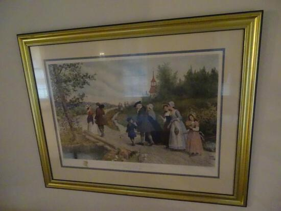 """Sunday Morning in Sleepy Hollow""(Washington Irving)-Jeannie Browncombe, After Etching by Jas S King"