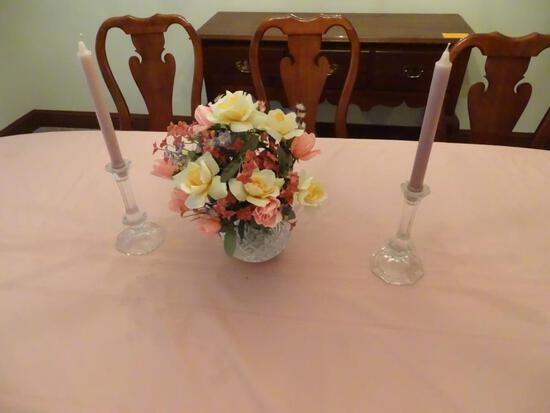 Cut glass vase w/ flowers and candlesticks